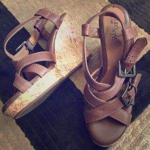 Sofft Shoes Brown Wedges Size 7.5